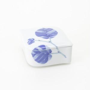 木の葉 菱の陶箱 [ 14.5 x 11.5 x 高さ5.5cm ] 【涼彩】