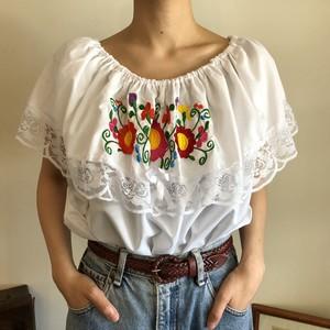 メキシコ刺繍 チュニック ドロップショルダー