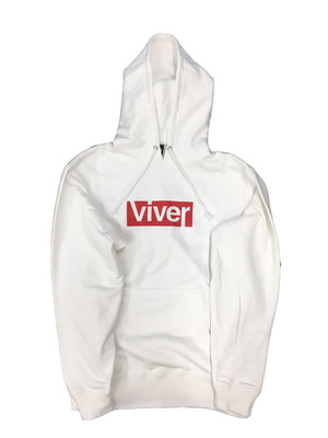 【viver day off】ボックスロゴプルパーカー White×Red