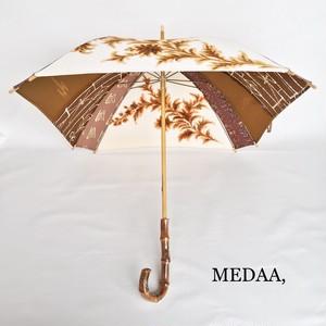 着物地の日傘 茶系×オフ