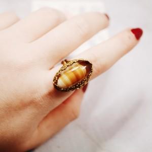 アンバーガラス フリーサイズリング(指輪)