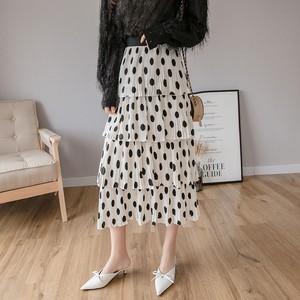 【ボトムス】柔らかい質感ファッションドット柄スカート17241598