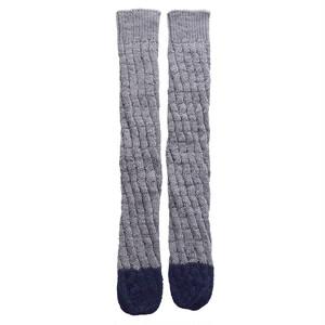 ツートンのねじり編み靴下・Gray×Navy