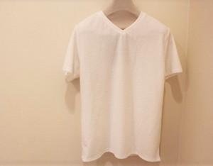 timone V-neck Pile T-shirt White
