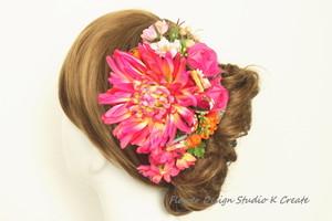 和装髪飾り♡ピンクの和菊のヘッドドレス