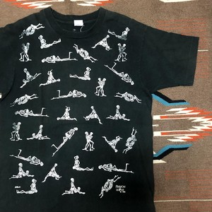 90's FASHION VICTIM ©1990 48手スカル 両面プリント ビンテージ Tシャツ(黒,L)