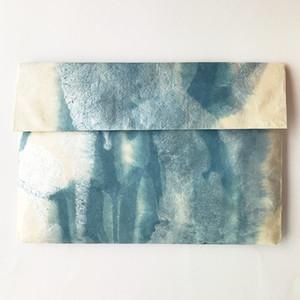 黒谷和紙の一つポケットホルダー(青)