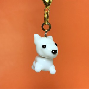 動物とんぼ玉チャーム ◇白犬◇ 手足付き