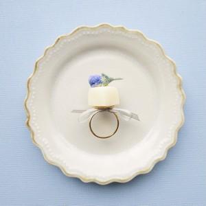 薔薇の花の砂糖漬けのせシュガー(ブルー) リング
