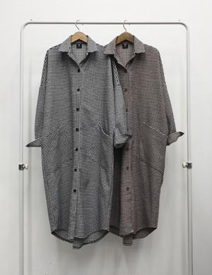千鳥ロングシャツ 千鳥 ロングシャツ シャツ 韓国ファッション