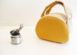 丸型トートバッグ/黄色×生成