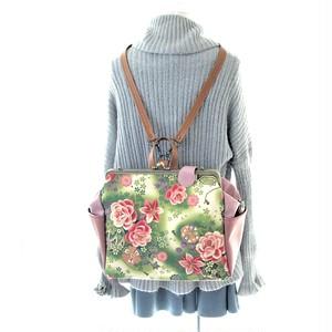 【和柄好きの方へ贈る】貴重品ポケット&ボトルポケット付き高機能BIG3WAYフラットリュック 薔薇と百合