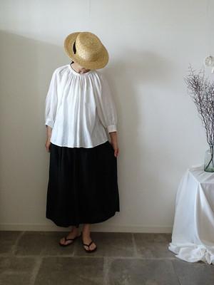 341-A リネンのふんわりギャザースカート ブラック