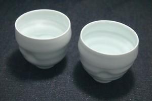 [単品]【フリーカップ】波佐見焼:青白磁くぼみグラス