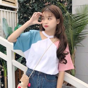 【トップス】シンプル配色ラウンドネックTシャツ