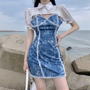 【セット】「単品注文」ファッションノースリーブVネックプルオーバーキャミワンピース+シャツ47001213