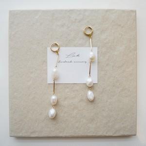 pearl long pierced earrings 【2】 ✦ 淡水パール ロングピアス