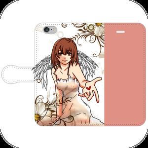 #029-001 iPhoneX対応 かわいい系・ファンタジー系  《天使の微笑み》  手帳型iPhoneケース ・ 手帳型スマホケース 全機種対応 作:もなみ。 Xperia ARROWS AQUOS Galaxy HUAWEI Zenfone