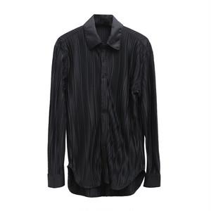 ☆MENS ストライプスプリングシャツ(White,Black) 130