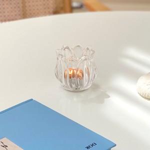 tulip candle holder / ヴィンテージアンティーク調 チューリップ ガラス ティーライト キャンドルホルダー 韓国雑貨