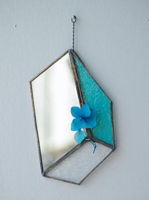 お在庫1点【contemporary mirror】sky blue/紫陽花