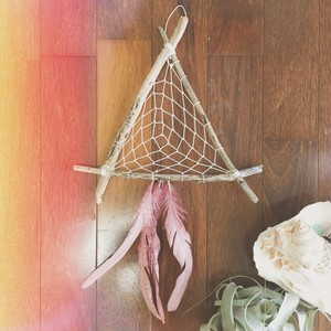 Bohemian driftwood dreamcatcher / pink feather