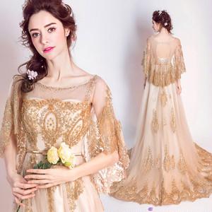 ウェディングドレス ゴールド ロングドレス パリ風