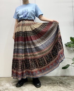 1970s MADE IN INDIA THE LIMITED Indian cotton flower pattern gold lurex maxi skirt 【M】