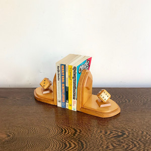 Vintage Wooden Bookends with Dice オランダ