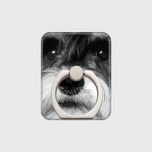 ミニチュアシュナウザー おしゃれな犬スマホリング【IMPACT -shirokuro- 】
