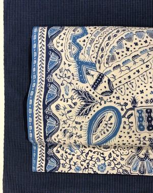 オリジナル名古屋帯(綿バティック×保多織紺)