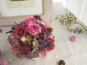 Bordeaux pink arrangement* ボルドーピンクのアンティークアレンジメント*ギフト*秋の新作*プリザーブドフラワー