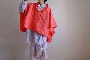 春の新作・セーラーカラーのアノラックポンチョ / ヴィスコース リネン 【 蛍光ピンクオレンジ 】 ネオンカラー/ sailor collar anorak poncho/ viscose linen【 pink orange 】