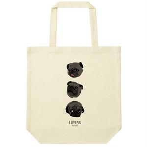 3パグトートバッグ【ブラック】