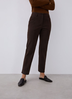 SUEDETTE STRAIGHT TROUSERS