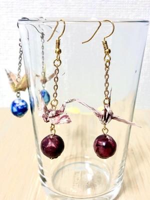 鶴珠ピアス(ピンク/赤)