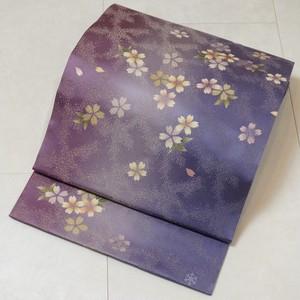 美品 作家物 金通し 洒落袋帯 桜 正絹 紫 212