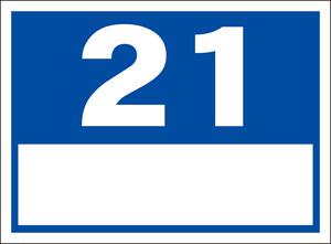 シンプル看板「番号票21(白窓付)」屋外可・送料無料