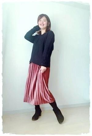 ベロアプリーツスカート ピンク