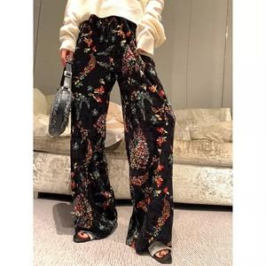 retro flower wide pants