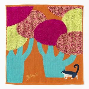 moritaMiW/ガーゼ・パイルハンカチ/ネコと大きな街路樹