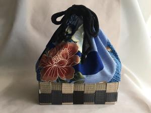 綿の浴衣から籠バック ブルー長方形