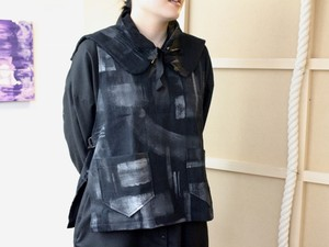MM×iwaseyuka APRON VEST + Attached Stand collar c/#BLACK