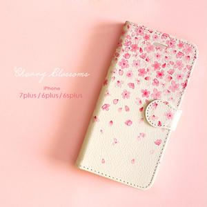 iPhone 手帳型スマホケース 【Cherry Blossoms】 iPhone8plus/7plus/6plus/6splus/XR/XS Max
