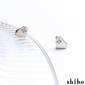 宝石のシルエットをかたどったピアス【silhouette pierce(sv)<石あり>】