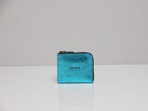 CRÈME 箔 14030 ブルー L字ファスナー コンパクト財布