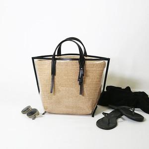 CECILY N.RAFFIA black leather【MORROW】
