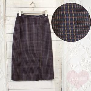 チェック柄ラップ風スカート