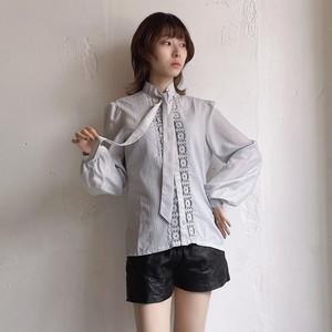 vintage lace bowtie blouse -ice blue-