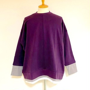 Layered Design Big Sweat Pullover Purple